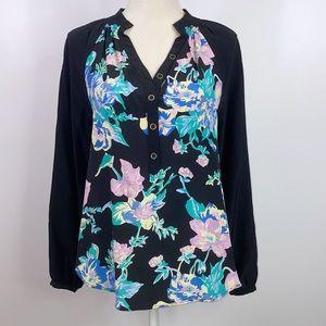 Yumi Kim floral 100% silk blouse business Casual S